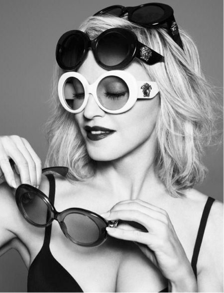 Madonna strikes a pose for the Versace Spring/Summer 2015 Sunglasses Collection