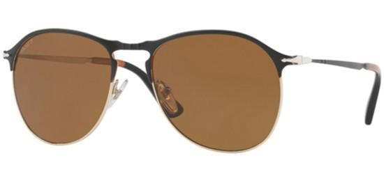 Persol PO 7649S MATTE BLACK GOLD/CRYSTAL BROWN POLARIZED