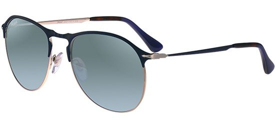 Persol PO 7649S BLUE BRONZE/CRYSTAL GREEN SILVER MIRROR