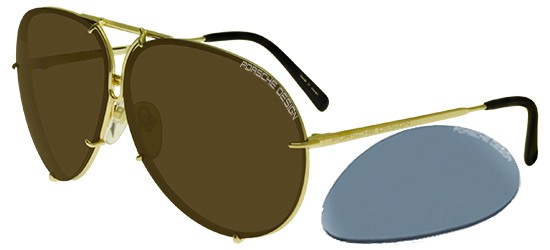 Porsche Design P8478 LIGHT GOLD/BROWN + LIGHT BLUE SILVER SEMI-MIRROR LENSES