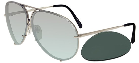 Porsche Design P8478 TITANIUM/LIGHT GREY LIGHT AZURE SEMI-MIRROR + GREEN LENSES