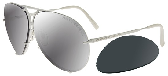 Porsche Design P8478 WHITE/GREY BLUE + MERCURY SILVER LENSES