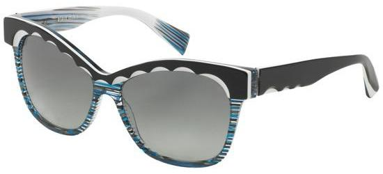 Alain Mikli FASCINATION 0A05014 BLACK WHITE CRYSTAL STRIPED BLUE/GREY SHADED