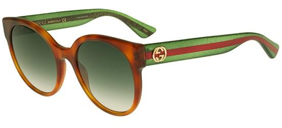 Gucci GG0035S HAVANA STRIPED GREEN/GREEN SHADED