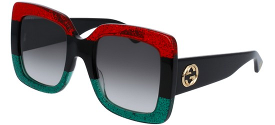 Gucci GG0083S BLACK STRIPED RED GREEN/GREY SHADED