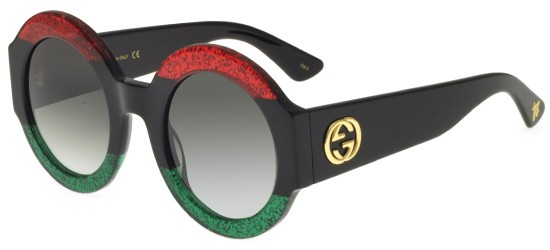 Gucci GG0084S BLACK STRIPED RED GREEN/GREY SHADED