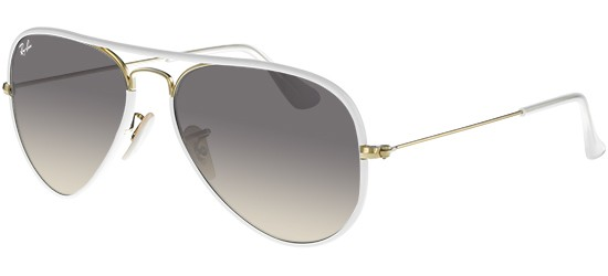 Ray-Ban AVIATOR LARGE METAL RB 3025JM WHITE GOLD/CRYSTAL GREY SHADED