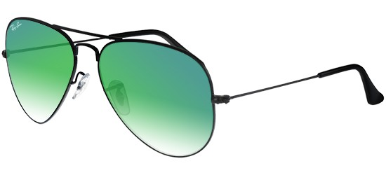 Ray-Ban AVIATOR LARGE METAL RB 3025 SHINY BLACK/GREY GREEN MIRROR SHADED