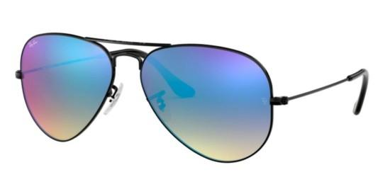 ray ban unisex rb3025 large metal  ray ban ray ban aviator large metal rb 3025 shiny black/crystal blue