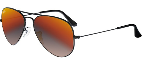 Ray-Ban AVIATOR LARGE METAL RB 3025 SHINY BLACK/CRYSTAL GREY ORANGE MIRROR