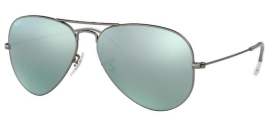 Ray-Ban AVIATOR LARGE METAL RB 3025 RUTHENIUM/GREEN SILVER MIRROR