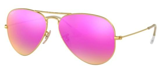 Ray-Ban AVIATOR LARGE METAL RB 3025 MATTE GOLD/BROWN FUCHSIA MIRROR POLARIZED