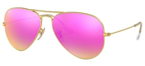 Ray-Ban AVIATOR LARGE METAL RB 3025 MATTE GOLD/GREEN FUCHSIA MIRROR