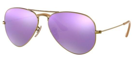 Ray-Ban AVIATOR LARGE METAL RB 3025 BRUSHED BRONZE/GREY LILAC MIRROR POLARIZED
