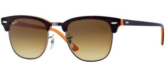 Ray-Ban CLUBMASTER RB 3016 DARK HAVANA BROWN ORANGE/BROWN SHADED