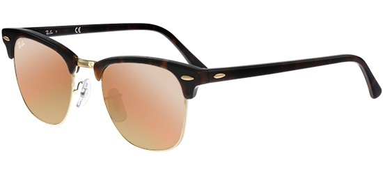 Ray-Ban CLUBMASTER RB 3016 SHINY RED HAVANA/CRYSTAL GREY ROSE COPPER MIRROR