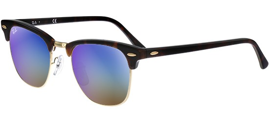 Ray-Ban CLUBMASTER RB 3016 SHINY RED HAVANA/CRYSTAL BLUE MIRROR SHADED