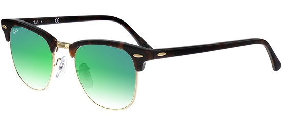 Ray-Ban CLUBMASTER RB 3016 SHINY RED HAVANA/CRYSTAL GREEN MIRROR SHADED