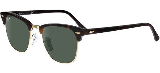 Ray-Ban CLUBMASTER RB 3016 MOCK TORTOISE GOLD/CRYSTAL GREY GREEN