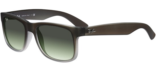 Ray-Ban JUSTIN RB 4165 SEMI TRANSPARENT DARK BROWN SHADED RUBBER/GREEN SHADED