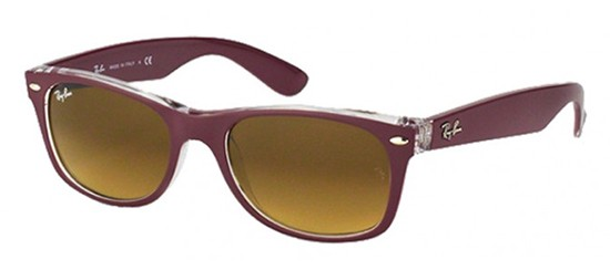 Ray-Ban NEW WAYFARER RB 2132 MATTE BURGUNDY CRYSTAL/BROWN SHADED
