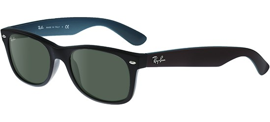 Ray-Ban NEW WAYFARER RB 2132 MATTE BLACK BURGUNDY/G-15 CLASSIC GREEN