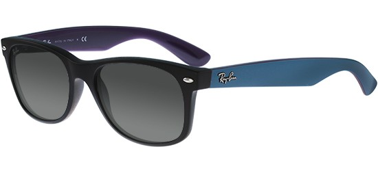 Ray-Ban NEW WAYFARER RB 2132 MATTE BLACK BLUE/GREY SHADED