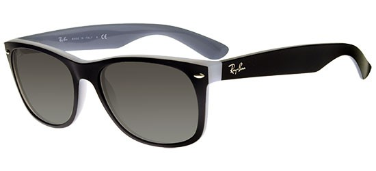 Ray-Ban NEW WAYFARER RB 2132 MATTE BLACK CRYSTAL/GREY SHADED