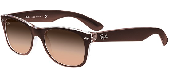 Ray-Ban NEW WAYFARER RB 2132 MATTE CHOCOLATE/PINK BROWN SHADED