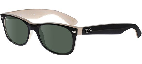 Ray-Ban NEW WAYFARER RB 2132 BLACK IVORY/G-15 CLASSIC GREEN
