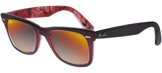 Ray-Ban ORIGINAL WAYFARER RB 2140 BURGUNDY SHADED/CRYSTAL GREY ORANGE MIRROR SHADED