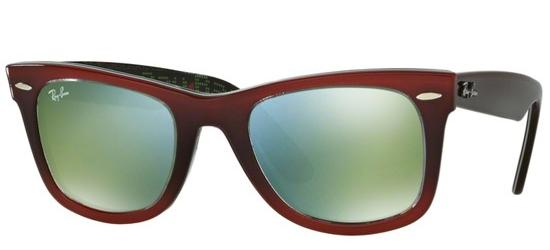 Ray-Ban ORIGINAL WAYFARER RB 2140 DARK RED SHADED/CRYSTAL GREY GREEN MIRROR