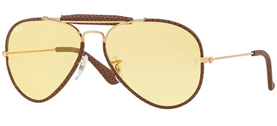 Ray-Ban RB 3422Q (LEATHER INSERTS) GOLD DARK BROWN/YELLOW