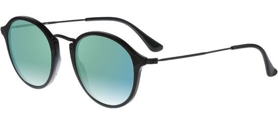 Ray-Ban ROUND FLECK RB 2447 SHINY BLACK/BLUE GREEN MIRROR SHADED