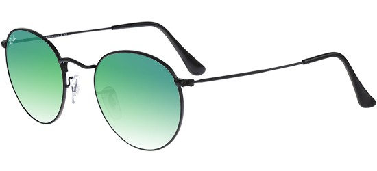 Ray-Ban ROUND METAL RB 3447 SHINY BLACK/CRYSTAL GREY GREEN MIRROR SHADED