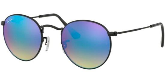 Ray-Ban ROUND METAL RB 3447 SHINY BLACK/CRYSTAL BLUE MIRROR SHADED