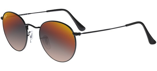 Ray-Ban ROUND METAL RB 3447 SHINY BLACK/CRYSTAL GREY ORANGE MIRROR