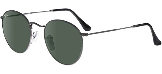Ray-Ban ROUND METAL RB 3447 MATTE RUTHENIUM/CRYSTAL GREY GREEN