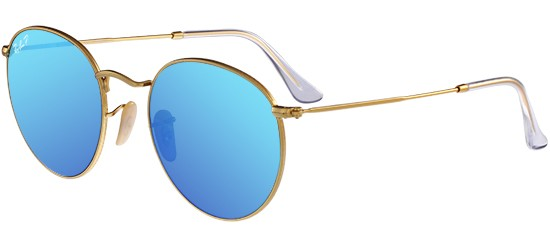 Ray-Ban ROUND METAL RB 3447 MATTE GOLD/CRYSTAL BLUE MIRROR POLARIZED