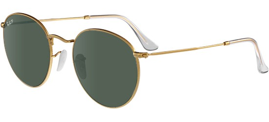 Ray-Ban ROUND METAL RB 3447 MATTE GOLD/CRYSTAL GREEN POLARIZED