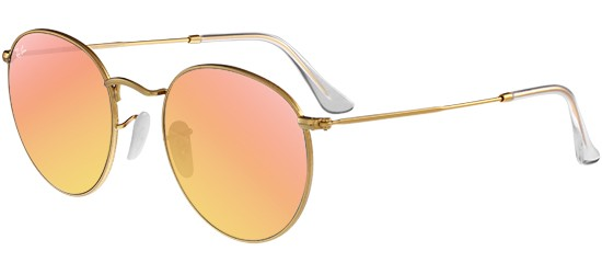 Ray-Ban ROUND METAL RB 3447 MATTE GOLD/CRYSTAL BROWN PINK MIRROR
