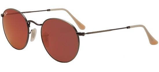 Ray-Ban ROUND METAL RB 3447 BRUSHED BRONZE/CRYSTAL BROWN RED MIRROR