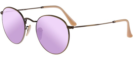 Ray-Ban ROUND METAL RB 3447 BRUSHED BRONZE/CRYSTAL GREY LILAC MIRROR