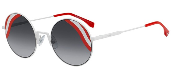Fendi WAVES FF 0248/S WHITE/GREY SHADED STRIPED RED WHITE