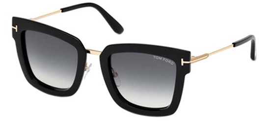 01K C Sunglasses Tom Ford EMANUELLA-02 FT 0618 Shiny Black//Grey Brown Shaded