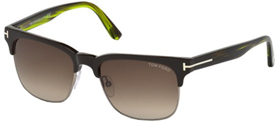 Tom Ford LOUIS FT 0386 DARK BROWN STRIPED GREEN/BROWN SHADED